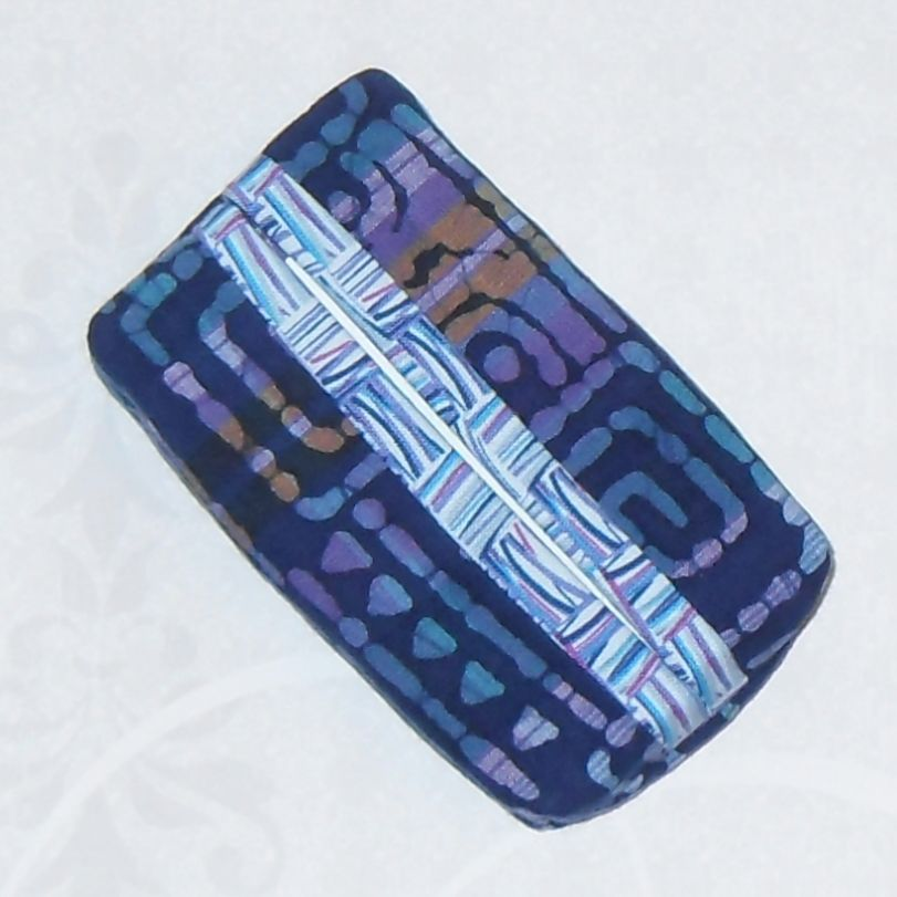 Madras Batik Boxy Pocket Purse Tissue Case. Ecofriendly. Travel Tissue Cozy. Fits Purse Pack. Blue Aqua Lavender Fabric. - product images  of
