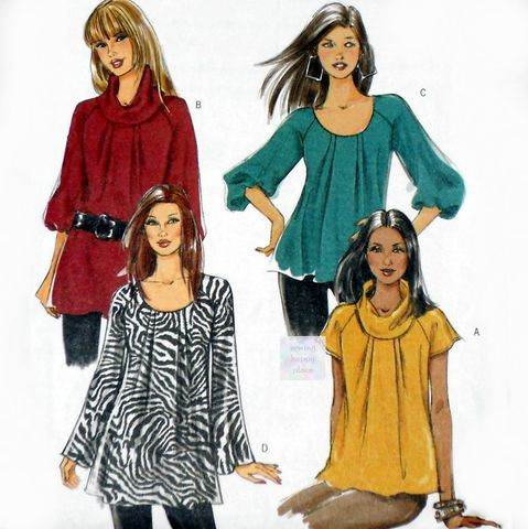 Misses,Loose,Fit,Tunic,Top,Pattern.,Raglan,Sleeve.,Bell,Sleeve,,Puff,Scoop,Neck,,Cowl,Collar.,sewinghappyplace, Sewing Pattern, Vintage
