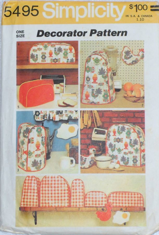 Kitchen Small Appliance Covers/ 1970s Pattern/ Chicken Egg Potholders - product images  of