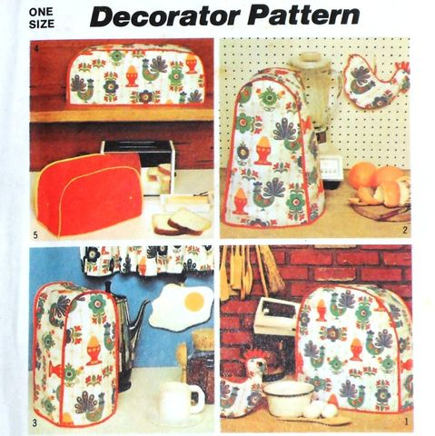 Kitchen,Small,Appliance,Covers/,1970s,Pattern/,Chicken,Egg,Potholders,sewinghappyplace, Sewing Pattern, Vintage
