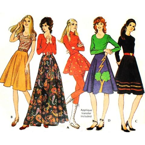 Bias,Full,Circle,Skirt/,Mini,Midi,Maxi/,1970s,Pattern/,W,27/,Uncut,FF,sewinghappyplace, Sewing Pattern, Vintage