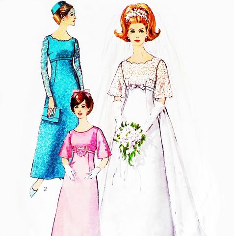 Wedding,Gown,Bridesmaid,MOB,Dress,1960s,Pattern.,Mod,Retro,Sleek,Lines,Bell,Shape,Empire,Waist,sewinghappyplace, Sewing Pattern, Vintage