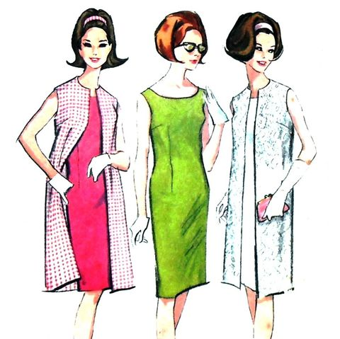 Sheath,Dress,w,Duster,Coat,1960s,Pattern.,Slim,Lines.,Casual,or,Dressy.,sewinghappyplace, Sewing Pattern, Vintage