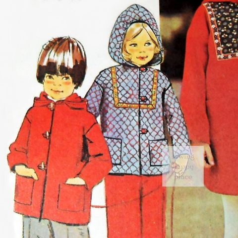 Child's,Hooded,Coat,Jacket,70s,Pattern.Unisex,Boy,Girl.,Hoodie,Coat.,sewinghappyplace, Sewing Pattern, Vintage