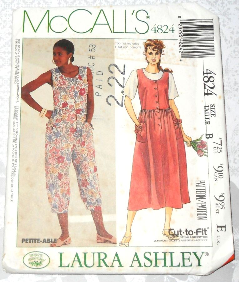 Relaxed Bodice Jumpsuit Romper Sundress 1990s Pattern. Deep Scoop Neckline. - product images  of