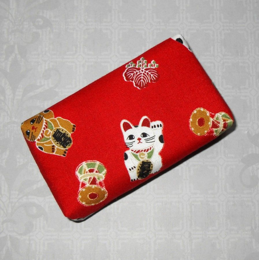 Maneki Neko Lucky Kitty. Boxy Pocket Purse Tissue Case. Ecofriendly. Travel Tissue Cozy. Fits Purse Pack. - product images  of