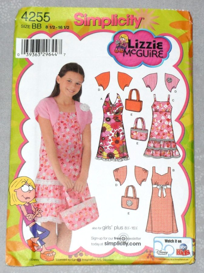 Girls Plus Size Sundress w Shrug Jacket and Purse Tote. Lizzie McGuire Pattern. - product images  of