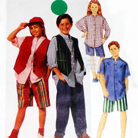 Boy,Girl,Unisex,Relaxed,Fit,Casual,Wear,1990s,Pattern.,Vest,,Shirt,,Shorts,,Pants.,sewinghappyplace, Sewing Pattern, Vintage