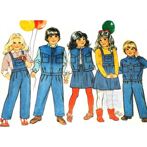 Unisex,Boy,Girl,Child,Casual,Play,Separates,1980s,Pattern.Perfect,in,Denim.,sewinghappyplace, Sewing Pattern, Vintage