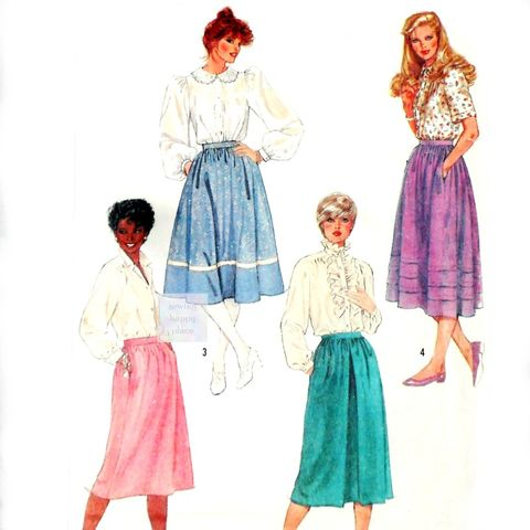 Retro,Romantic,Dirndl,Skirt,1980s,Pattern.,Tucks,or,Ribbon,Trim.,sewinghappyplace, Sewing Pattern, Vintage