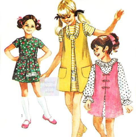 Toddler,Girls,Aline,Dress,w,Duster,1970s,Pattern.,sewinghappyplace, Sewing Pattern, Vintage