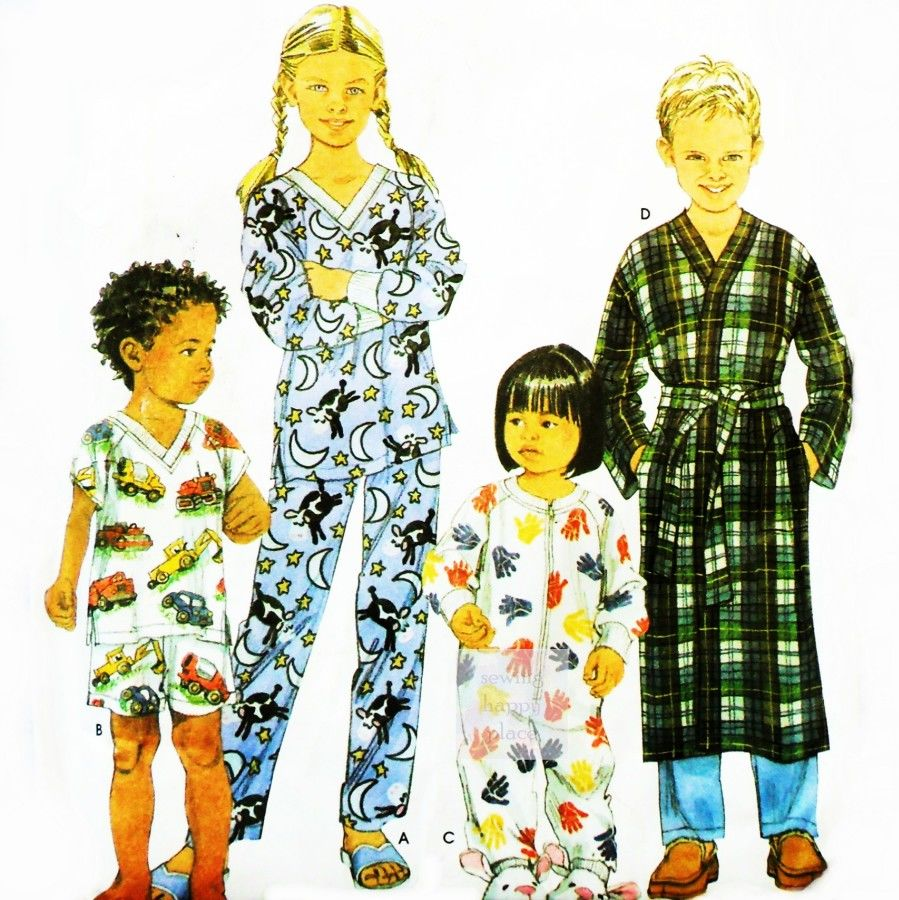 Infant Toddler Sleepwear Pattern. Long or Short Pajamas. One pc. Sleeper. Wrap Robe. - product images  of