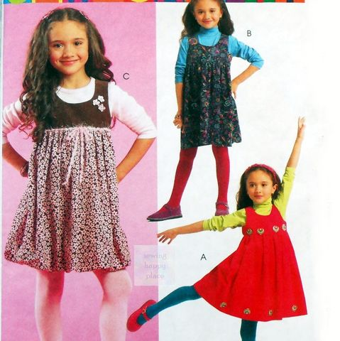 Girls,High,Waist,Jumper,Pattern.,Scooped,Neckline.,Embellishment,Options.,Sewing Pattern, Girls, High Waist, Jumper, Scooped Neckline, Embellishment Options, McCalls 5692, sewinghappyplace