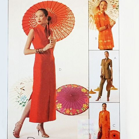 Asian,Style,Dress,Tunic,Jacket,Duster,Pattern.,Mandarin,Collar.,Tapered,Pants.,Sewing Pattern, Asian Style, Oriental, Dress, Tunic, Jacket, Duster, Cheongsam, Mandarin Collar, Stand up Collar, Tapered Pants, sewinghappyplace