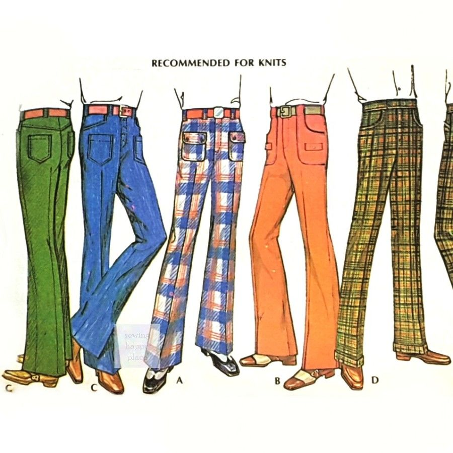 Mens Pants 1970s Pattern. Jeans or Classic Cut. Straight or Flare Leg. - product images  of