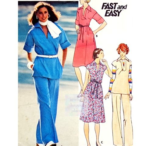 A,Line,Dress,or,Tunic,1970s,Pattern.,Elbow,Length,Rolled,Sleeves.,Skirt,,Pants.,sewinghappyplace, Sewing Pattern, Vintage