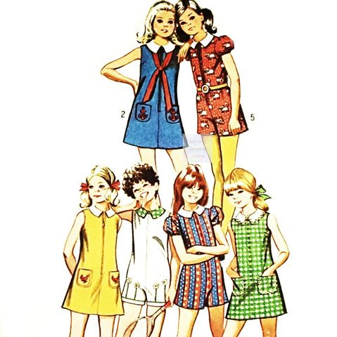 Girls,A,line,Dress,or,Romper,1970s,Pattern.,Sleeve,and,Collar,Options.,sewinghappyplace, Sewing Pattern, Vintage