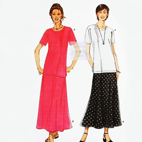 Tunic,Length,Tee,and,Maxi,Skirt,Pattern.,Scooped,Neckline.,Flutter,Skirt.,sewinghappyplace, Sewing Pattern, Vintage