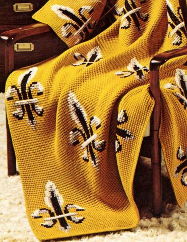 Pattern,-,Fleur,di,Lis,Crochet,Afghan,perfect,for,Saints,Fans.,Team,Pride.-,PDF,or,Printed,and,Mailed,Vintage, afghan pattern, fleur de lis, black and gold, crochet afghan, team pride, nola, saints, football bleacher afghan, pdf printable pattern, tutorial, crochet saints blanket, geaux, sewinghappyplace, sewing happy place