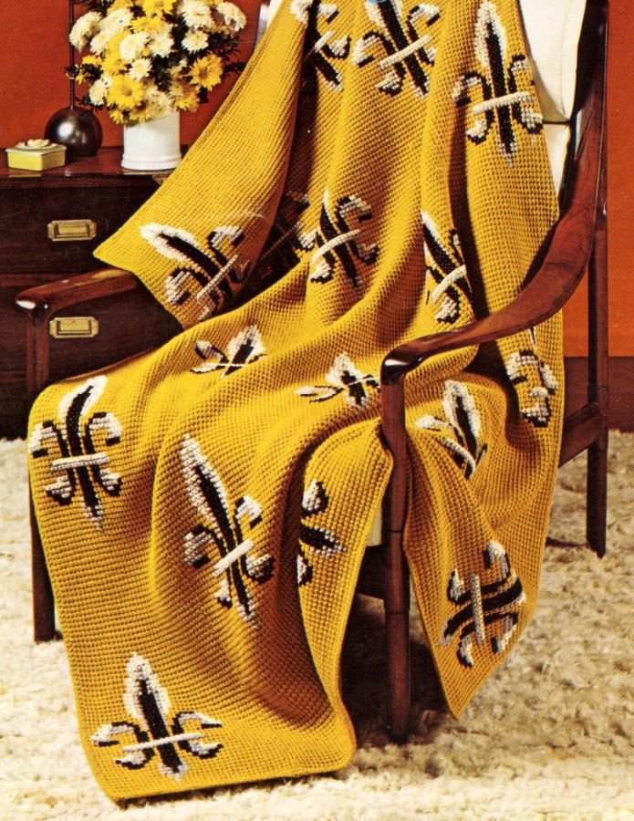 Pattern - Fleur di Lis Crochet Afghan Pattern perfect for Saints Fans. Team Pride.- PDF or Printed and Mailed - product images  of