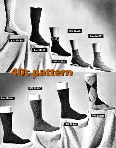 Pattern,-,Sox,for,All,1940s,Knit,Socks,Tutorial,Mens,Womens,Cable,Argyle,Anklet,Calf,PDF,or,Printed,and,Mailed,Vintage, 1940s, socks pattern, knit anklet pattern, calf socks pattern, knit knitting, rib stitch, cable socks, argyle socks, mens socks, tutorial, womens socks, sewinghappyplace, sewing happy place