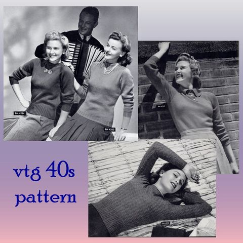 Pattern,-,Curvy,Pin,Up,Girl,Sweaters,Swing,era,1940s,knitting,pattern,4,style,variations,PDF,or,Printed,and,Mailed,Vintage, 1940s, sweater girls, knit  pattern, jewel neck sweater, knit knitting, tight swing era sweaters, monogram crew, cable crew, polo style collar sweater, tutorial, classic womens sweaters, sewinghappyplace, sewing happy place