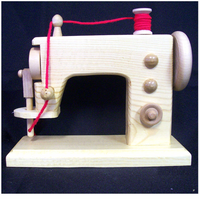 Toy wood sewing machine, realistic handmade wooden replica - product images  of
