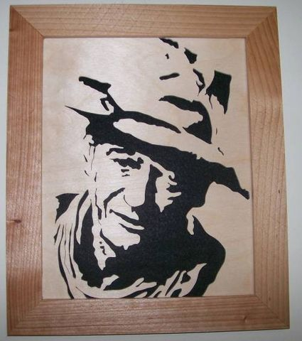 John,Wayne,scroll,saw,portrait,woodworking, art, wall_hanging, picture, portrait, wood, wood_cut, celebrity, movie_star,