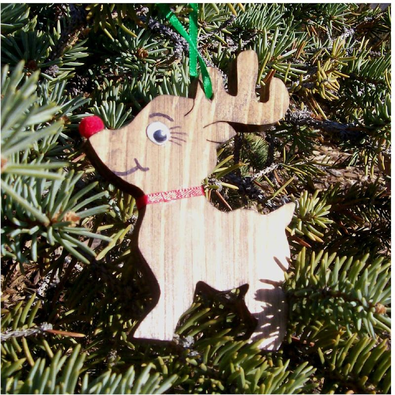 Reindeer Christmas ornament wood - product images  of