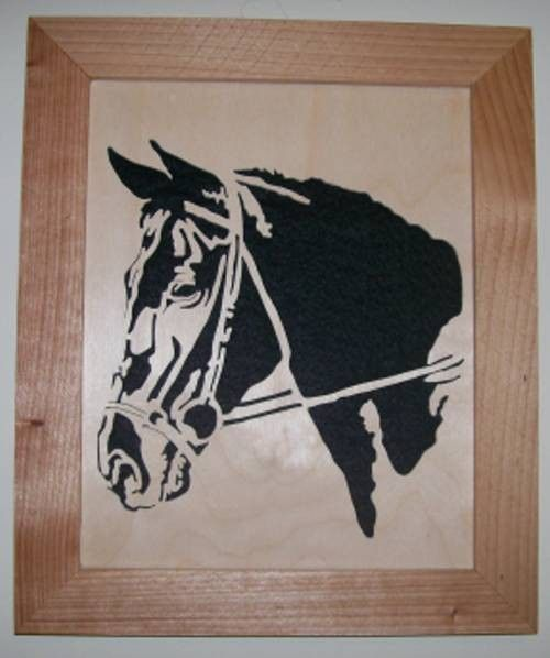 Horse in wood scroll saw portrait of a horse head - product images