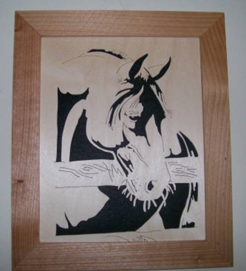 Old horse in wood scroll saw picture - product images