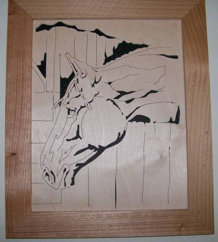 Horse,in,a,stable,scroll,saw,picture,woodworking, frame, fretwork, home_decor, wall_hanging, carving, sculpture, animal, horse,