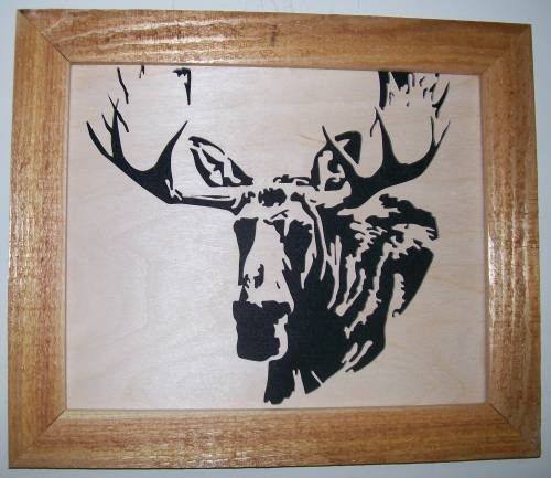 Bull moose in wood scroll saw picture - product images