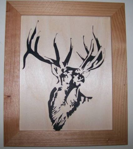 Bull,elk,in,wood,scroll,saw,picture,woodworking,home_decor,wall_hanging,portrait,wildlife,animal,bull_elk,wapiti,trophy,sswoodcraft,birch,cedar,felt