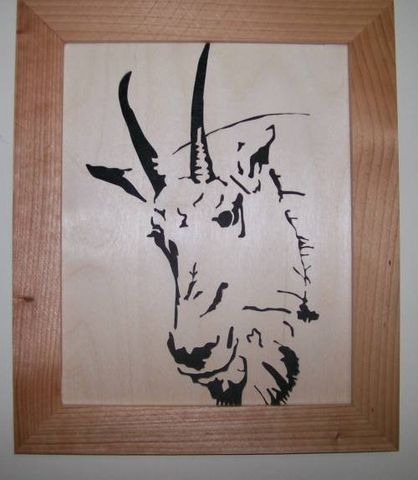 Mountain,goat,in,wood,scroll,saw,picture,woodworking,fretwork,wall_hanging,art,portrait,felted,home_decor,birch,cedar,felt