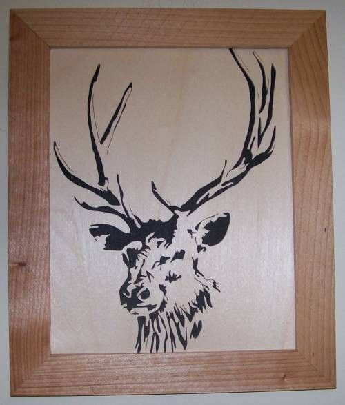 Elk in wood scroll saw picture - product images