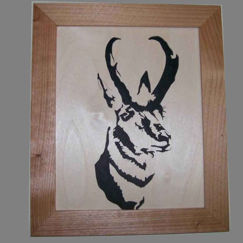 Pronghorn antelope in wood scroll saw portrait - product images