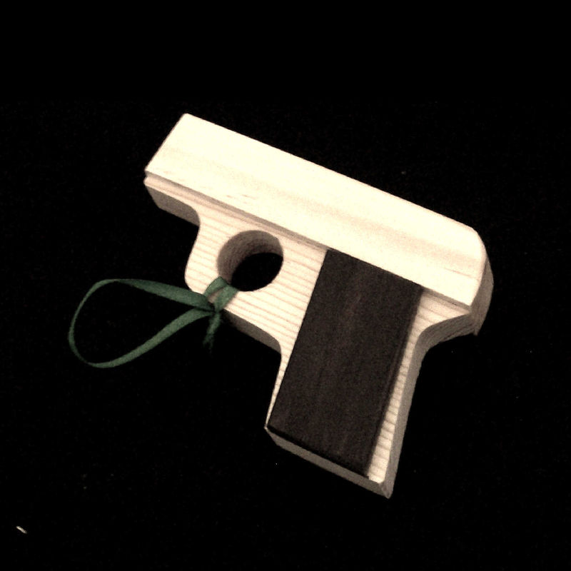 Handgun shaped Christmas ornament, gun pistol - product images  of