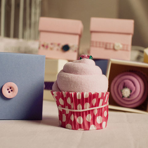 Sock,Cupcake,Box,(4),ladies gifts, baby mum gifts, sock cupcakes, calorie free gifts