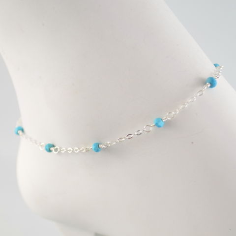 Simple,Turquoise,Anklet,in,Sterling,Silver,turquoise, anklet, sterling, silver, delicate, simple, lightweight, genuine, gemstone