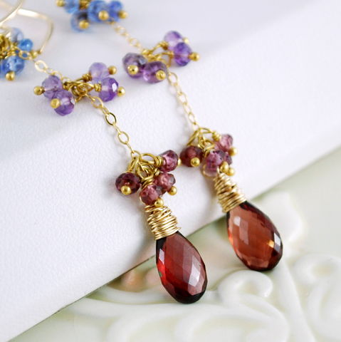 Garnet,Earrings,with,Tanzanite,Amethyst,and,Rhodolite,Gold,Jewelry,Wire_Wrapped,gemstone,long,dangly,elegant,glittery,semiprecious,jewellery,garnet_earrings,garnet_jewelry,tanzanite,amethyst,rhodolite_garnet,gold,gold_filled,garnet