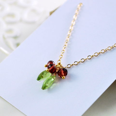 Red,Holiday,Necklace,with,Garnets,and,Peridots,in,Gold,-,Holly,for,Christmas,Holidays,feminine,genuine,garnet,gemstone,peridot,gold_filled,jewellery,holiday,garnet_necklace,holly_berry,berries,red_holiday_necklace