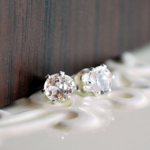 White,Topaz,Stud,Earrings,in,Sterling,Silver,stud, earrings, sterling, silver, gemstone, white, topaz