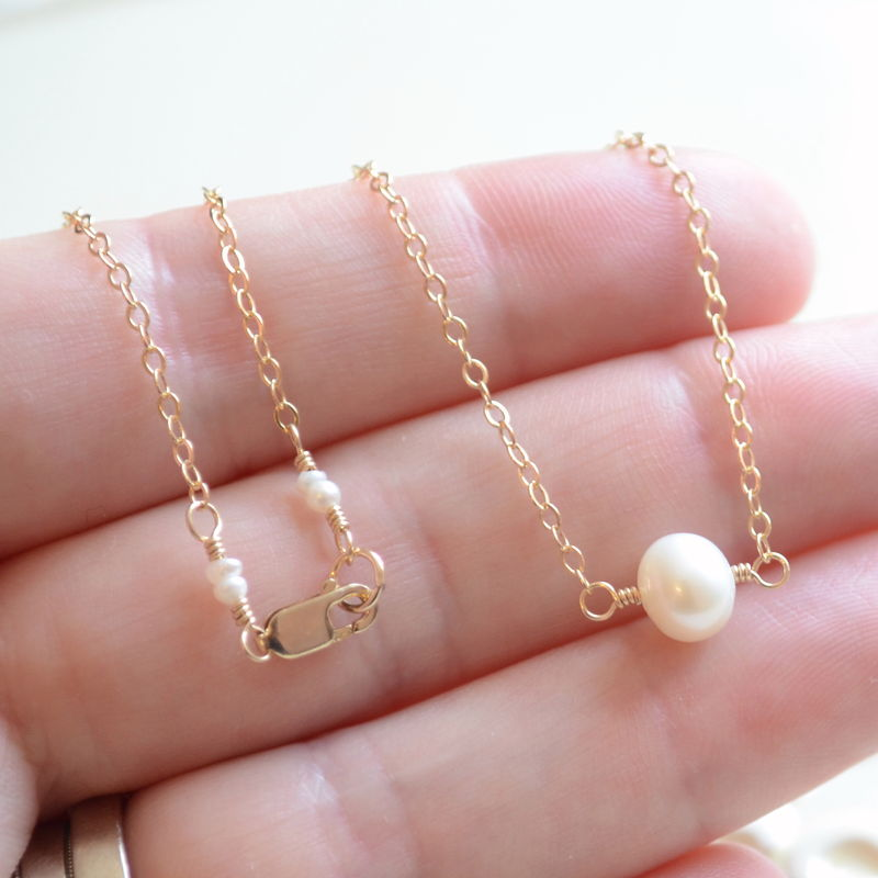 Floating Pearl Choker Necklace in Gold - product images  of