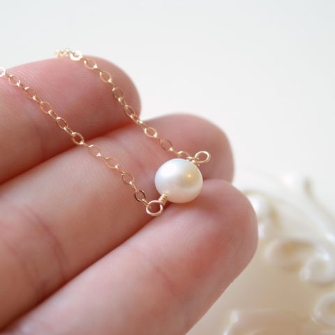 Floating,Pearl,Choker,Necklace,in,Gold,pearl, freshwater, white, ivory, choker, necklace, gold, simple