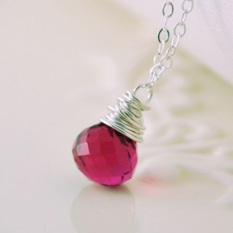 Hot,Pink,Quartz,Necklace,in,Sterling,Silver,hot pink, quartz, fuchsia, necklace, jewelry, onion, gemstone, simple, pendant, wrapped, sterling, silver