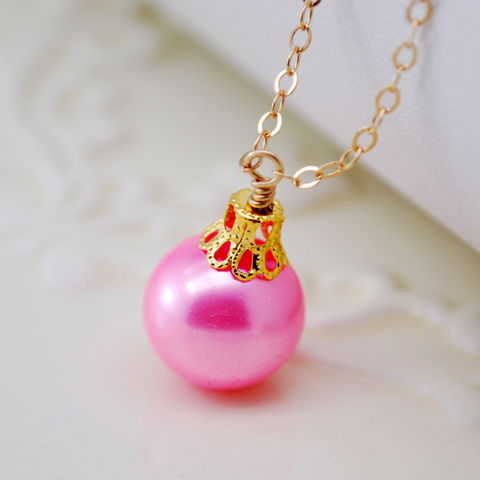 Candy,Pink,Christmas,Ball,Necklace,in,Gold, holiday, necklace, candy pink, ornament, ball, fun, festive, gold, jewelry