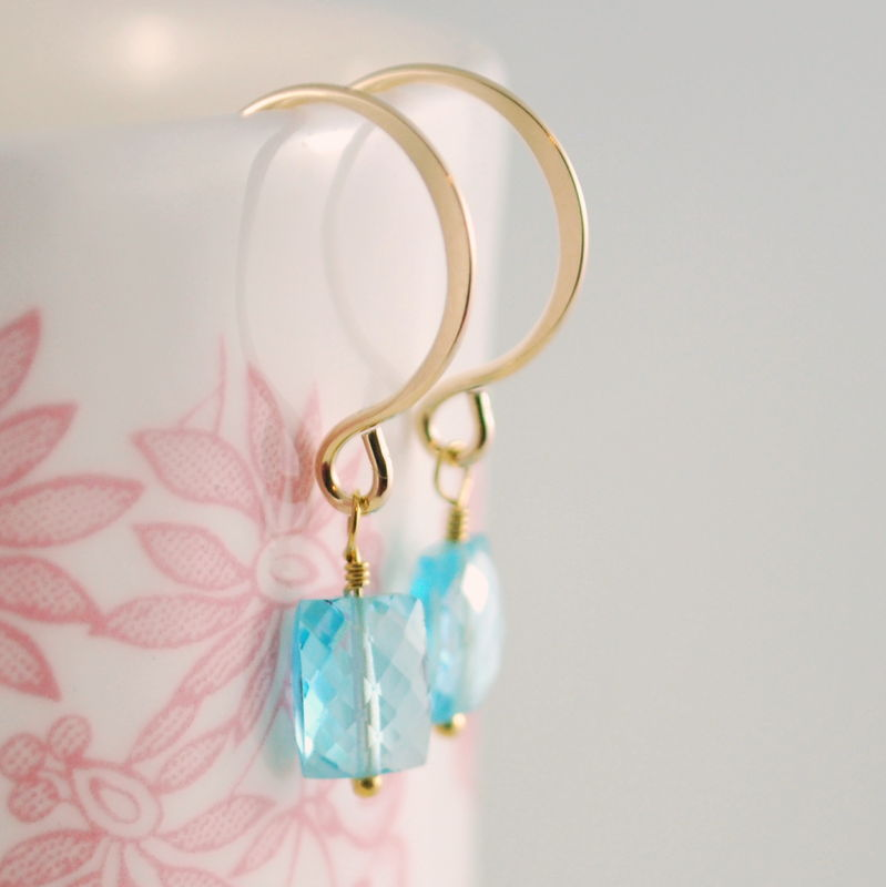 Bright Blue Topaz Simple Earrings in Gold - product images  of