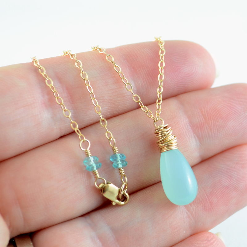 Smooth Chalcedony Necklace in Aqua and Gold - product images  of
