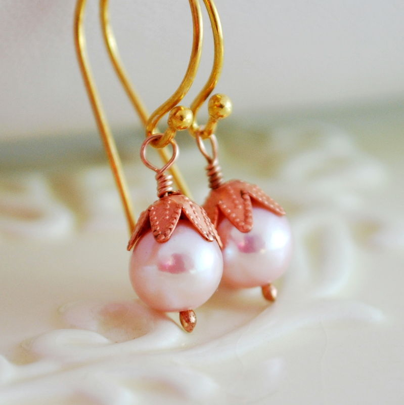 Pink Pearl Earrings in Mixed Metals - product images  of